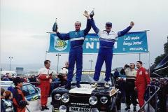 Calum & Hugh Duffy stood on their trusty Mk2 Escort after winning the 1998 Tour of Mull - (Eddie O'Donnells can be seen to the left with Chris Griffiths & Aled Davies to the right)