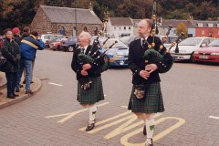 """You're right Angus, this is a good drop of malt"" - Pipers leading the winner into the car park in Tobermory"