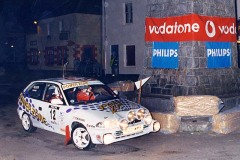 "Fifth overall and ""Best Clitheroe & District Car Club"" award - Daniel Harper and Les Reger in their PowerZone sponsored Vauxhall Astra 1998 going round the Clock Tower in Tobermory High Street on Friday Night's Millennium Stage"