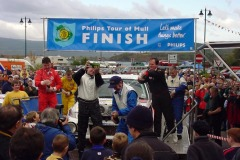 Celebrations outside macGochans at the finish - First Overall -